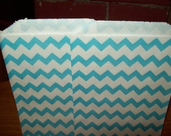 Chevron Aqua Blue Middy Bitty Treat, Favor, Party, Bags Set of 20