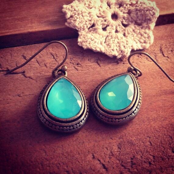 Aqua Blue Gemstone Earrings Drop Gems Jewels Charms Drop Gem Charm Antique Bronze Setting