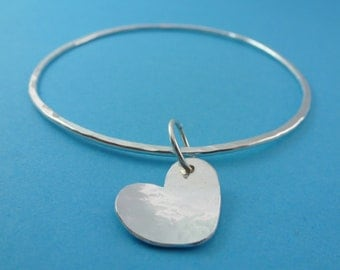 Silver Heart Bangle - Sterling Silver Solid 925 Heart Charm Flat  Bracelet Bangle Hammered Texture