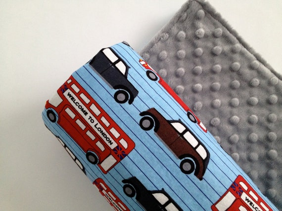 London's Calling  Baby Blanket  Cars and Buses with grey minky