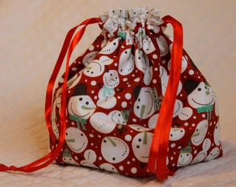 Knitting project bag- Red Snowmen
