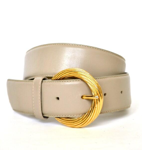 RESERVED- Vintage LIZ CLAIBORNE Taupe Leather Wide Belt M
