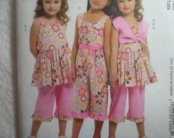 McCalls 6064 Girls' Bolero, Dress, Jumpsuit and Pants Pattern Size 6-7-8