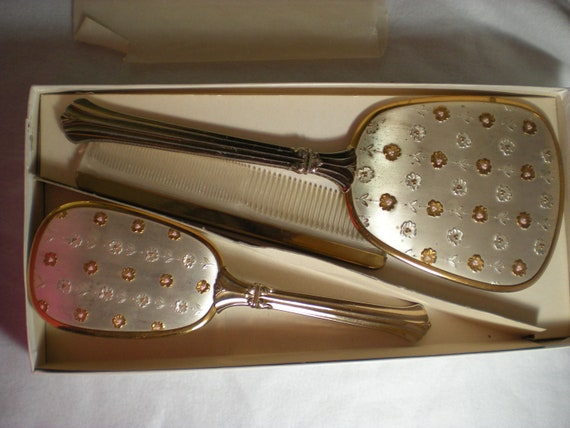 Vintage Vanity Set  Mirror Brush and Comb
