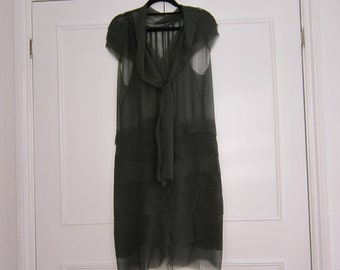Sheer Bottle Green  Vintage Shift Dress