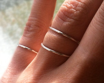 Set of 3 Sterling Silver Stacking Rings, Smooth or Hammered Texture, custom made to order