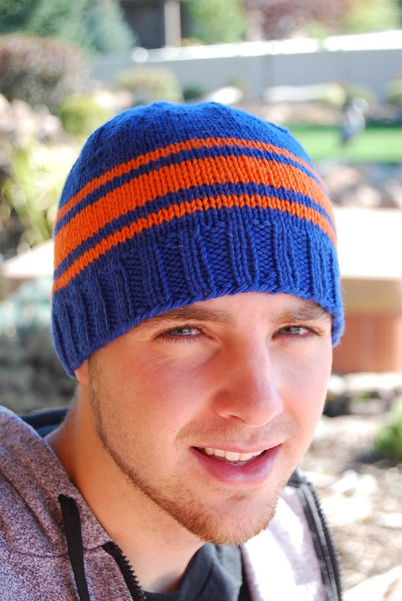 Orange and Blue Striped Beanie. Boise State, University Florida Gators Knit Knitted Wool College Football Cap Hat