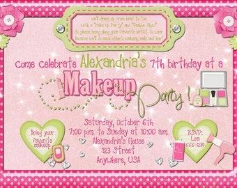 Makeup Birthday Party Invitation
