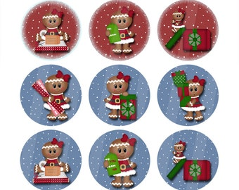 Gingerbread Snowgirls One Inch Digital Images