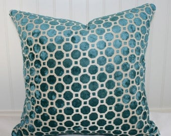 SALE  / IN STOCK /  Robert Allen Teal Geometric Pillow Cover / 14 X 18 / Upholstery with natural canvas back