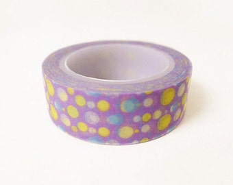 Japanese Washi Tape Rice Paper Tape Masking Tape - Purple Background with Dots Pattern (10m)