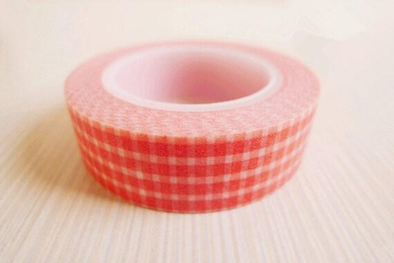 Washi Tape - Watermelon Red Plaid Pattern (10m)