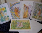 Fantasy Fairies and Angels Card pack of 5, Folded 5x7 inch cards (3 Fairy designs and 2 Angel Designs)