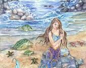 Mermaid Art, Moonlight, Rainbow-colored tail, Indigo skies Mermaid Sitting on Rock Mermaid art Print , 11 x 14 art photo print
