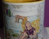 Ceramic Fairy with Baby Wild Animals design 11oz Mug, yellow handle