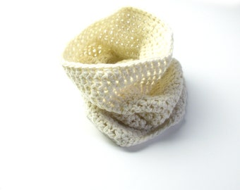 Chunnel Cowl -a crocheted scarf, wide infinity scarf/snood for winter - cream, ivory, ecru