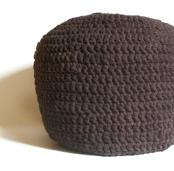 Crochet Ottoman : Crocheted Pouf -ottoman, foot stool, floor pillow - MADE-TO-ORDER