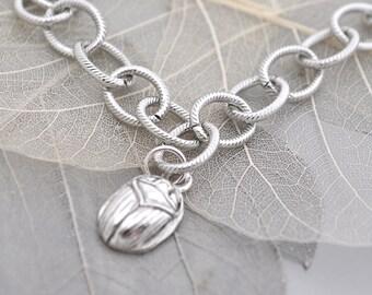Egyptian scarab charm bracelet, Egyptian talisman bracelet, Egyptian jewelry, silver charm bracelet,Egypt scarab bracelet,Egypt scarab Charm