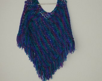 Hand Knit Poncho Shades of Teals, Purples, and Burgandy