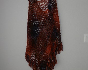 Hand Knit Poncho Shades of Fall of Burnt Orange, Rust, Orange and Purple