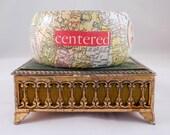 "Decoupage Wood Bangle: ""Centered Soul"" with 1930 Vintage World Maps and Floral Embellishments (MEDIUM/LARGE)"