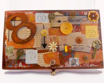 Altered Cigar Box // Collage Wood Letter Box// Rusty Assemblage// Reclaimed Materials // Ephemera Mixed Media // Hand Painted// Home Gift