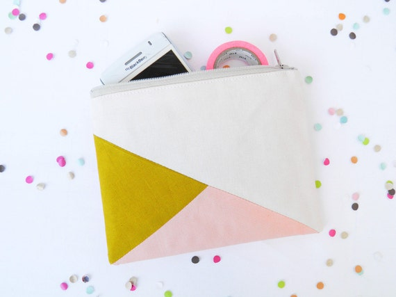 "Small zipper pouch 4,7""X6"" geometry color block in beige, mustard and peach"