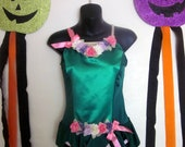 Vintage Ballet Leotard Fairy Dance Costume. Forest Green with Flowers and Pink Bows. Ballerina, Fairy, Woodland Nymph or Princess