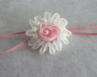 Newborn/Infant Headband, Pink and White Chiffon Flower Headband, Baby Headband, Photo Prop
