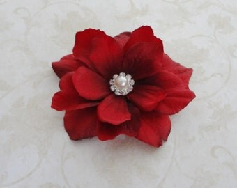 Bridal Red Flower Clip - Small Ruby Red  Bridesmaids Flower Clip - Womens Red Fascinator   - Red Flower Hair Pin - Flower Brooch