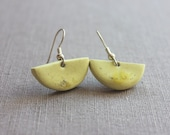 Yellow dangle earrings - ceramic handmade