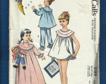Vintage 1957 McCalls 2189 Girls Sleepwear Nightgown Nightie with Panties & Pajamas with Embroidery Transfer  Size 10- Girls