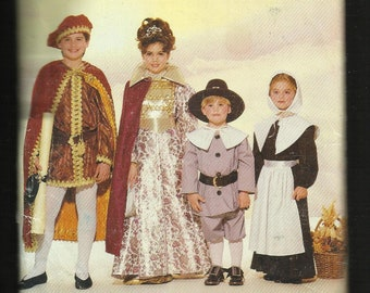 Butterick 6305 Costumes for Kids Pilgrams King & Queen  Sizes 4-5 to 12-14 UNCUT