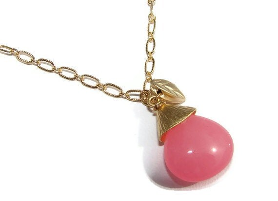 Cotton Candy Pink Jade Pear Drop w Leaf Gold Necklace
