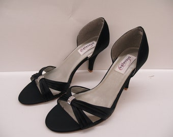 Ready to Ship Size 9 BLACK Wedding heels, Open Toe D'Orsay Pumps, Prom, Night Club, Black Satin Pumps, Goth, Special Occasion Evening Pumps