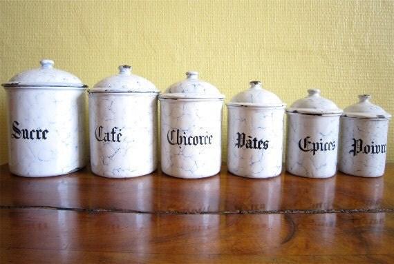 Vintage Enamelware Canister Nest  French canister enamelware Complete set