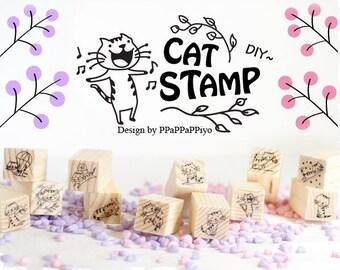 12 pcs Zakka Kawaii Cat Rubber Wooden Stamp with Sticker