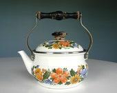 Vintage Teapot Tea Pitcher Pot Flower Floral Japan