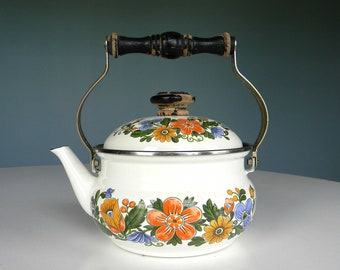 Vintage Teapot Tea Pitcher Pot Flower Floral Japan