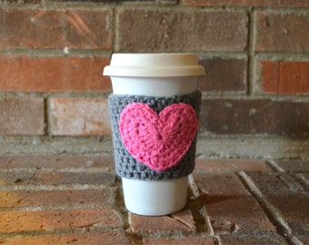 Coffee Cozy with Heart - Pink Cup Cozy - Customizable