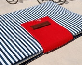11'' MacBook Air laptop sleeve,Navy and red laptop sleeve with wood label , 11 inch laptop bag