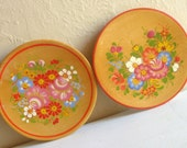 Pair of Vintage Handpainted Wood Plates of Colorful Flowers