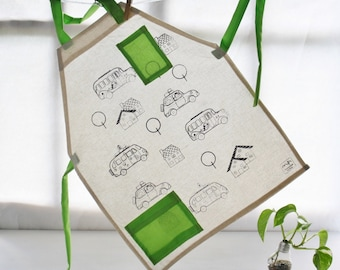 Children apron with cars screenprinted for coloring - Cute apron for kids - Coloring apron for children
