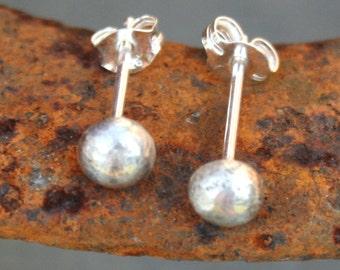 Sterling Silver Post Earrings - Rustic Domes
