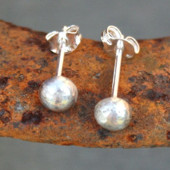 Sterling Silver Post Earrings - Rustic Domes