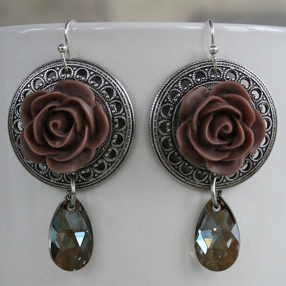 VICTORIAN ROSES in Mocha romantic vintage fantasy inspired rose earrings with Swarovski drops, free gift boxing