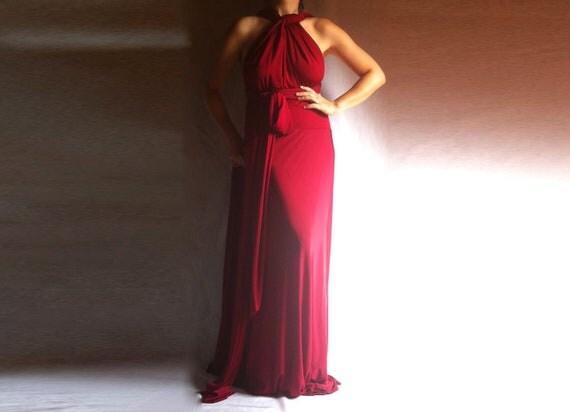 Wrap Maxi Dress Red Maxi Convertible Infinity Multi Way Wedding Dress Made to Measure Bridesmaid Dress Plus Size Red Dress Oversize Maxi
