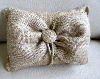 giant BOW natural Burlap ring bearer pillow