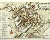 Canterbury 1670. Antique Map of Canterbury, England by Wenceslas Hollar - MAP PRINT