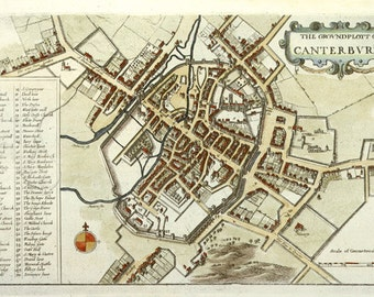 Canterbury 1670. Antique Map of Canterbury, England by Wenceslas Hollar - MAP PRINT